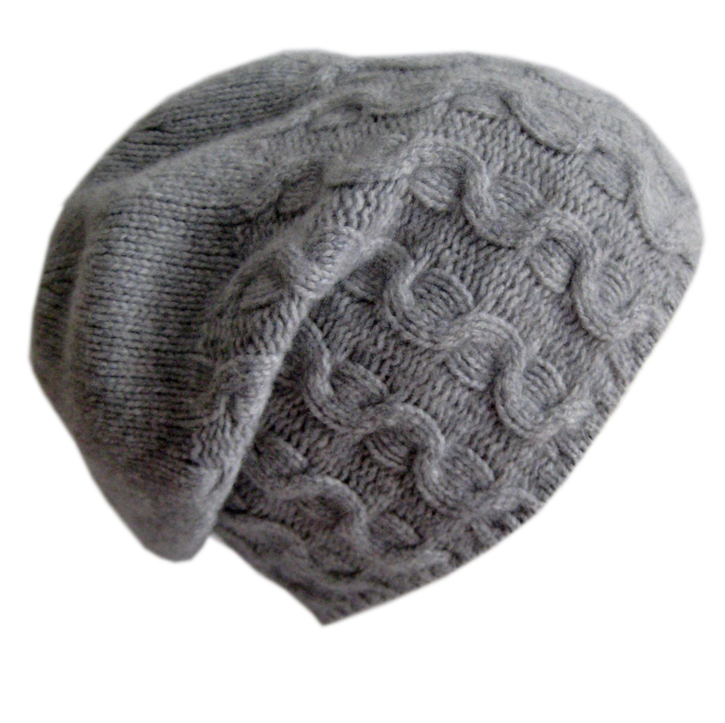 Frost Hats Luxurious Cashmere Slouchy Cable Beanie CSH-735 Gray by Frost Hats