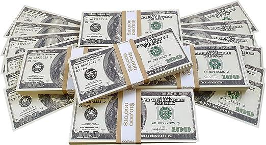 BILLETES DE DOLAR AMERICANOS FALSOS 50 000 IMPRESOS AL ESTILO ANTIGUO FAJO DE BILLETES DE 100 DÓLARES NUEVO Para Pistola de Dinero Cañón de Billetes Película Juguete Falso Dinero Billetes Casino: Amazon.es: Hogar