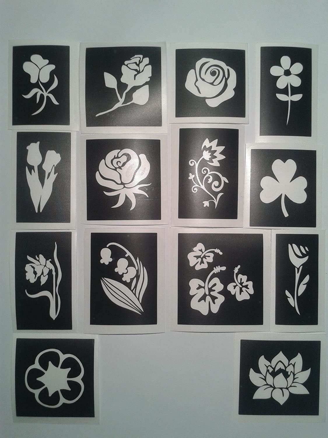25 x flower stencils for etching on glass mixed daffodil tulip rose daisy Dazzle Glitter Tattoos