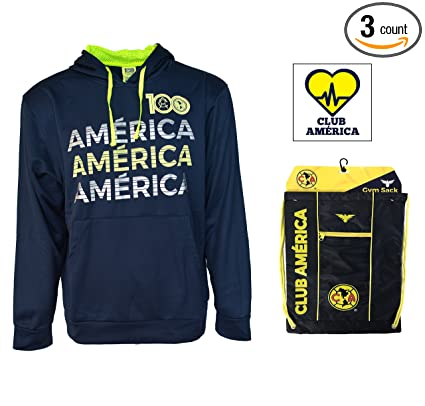 a7751eb2781 Club America Hoodie Zip up Jacket Adults New Season Sticker and Cinch  (Navy