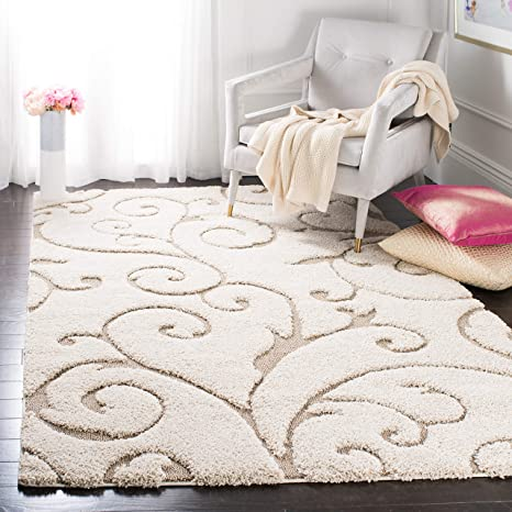 Amazon Com Safavieh Florida Shag Collection Sg455 Scrolling Vine Graceful Swirl Textured 1 2 Inch Thick Area Rug 5 3 X 7 6 Cream Beige Furniture Decor