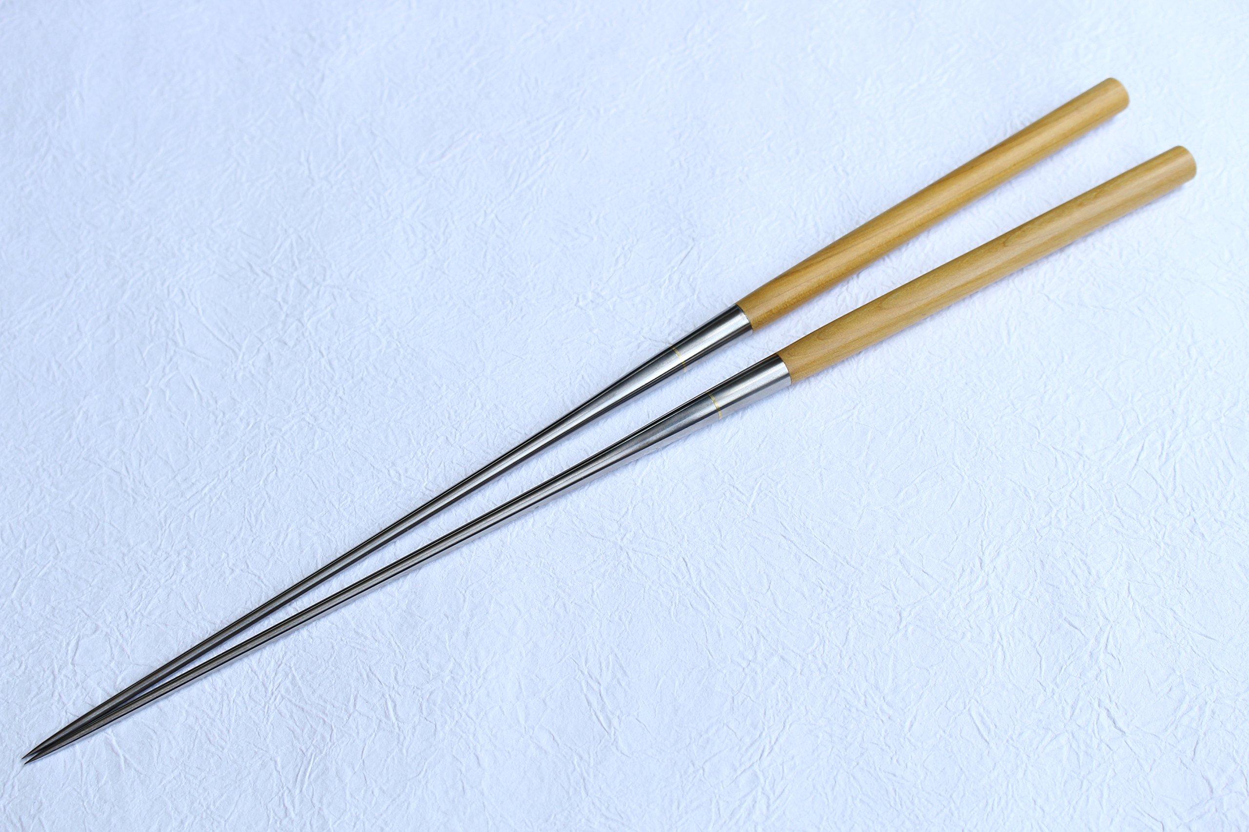 ibuki Yellowheart wood Moribashi Chopsticks Honyaki quenching stainless Japanese Sushi Chef's Garnishing 7.1 inch (180mm) by ibuki (Image #1)