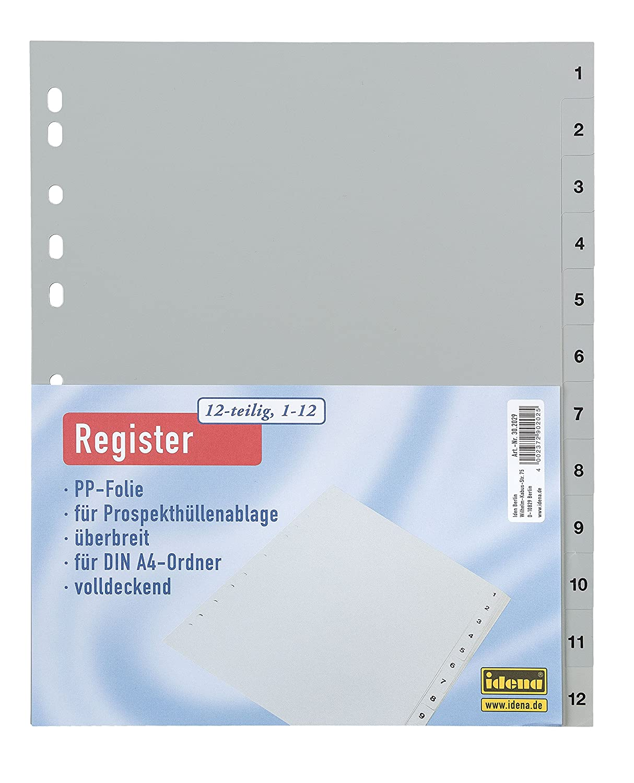 Idena 302029registro PP A4, 112, ueberbreite, 12pezzi, grigio