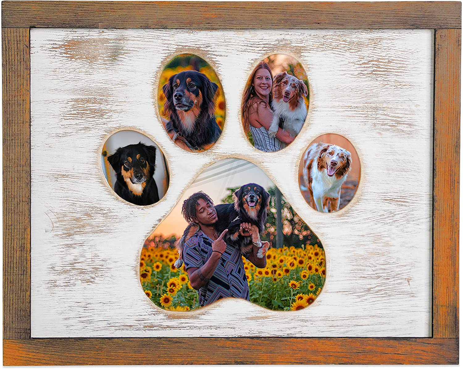 Dog Picture Frame With Paw Print Shape - Wooden Dog Photo Frame Gift For Pet Owners Or Memorial Keepsake For Dogs That Passed - Holds Multiple Pictures Of Your Favorite Friend (8x10, brown)