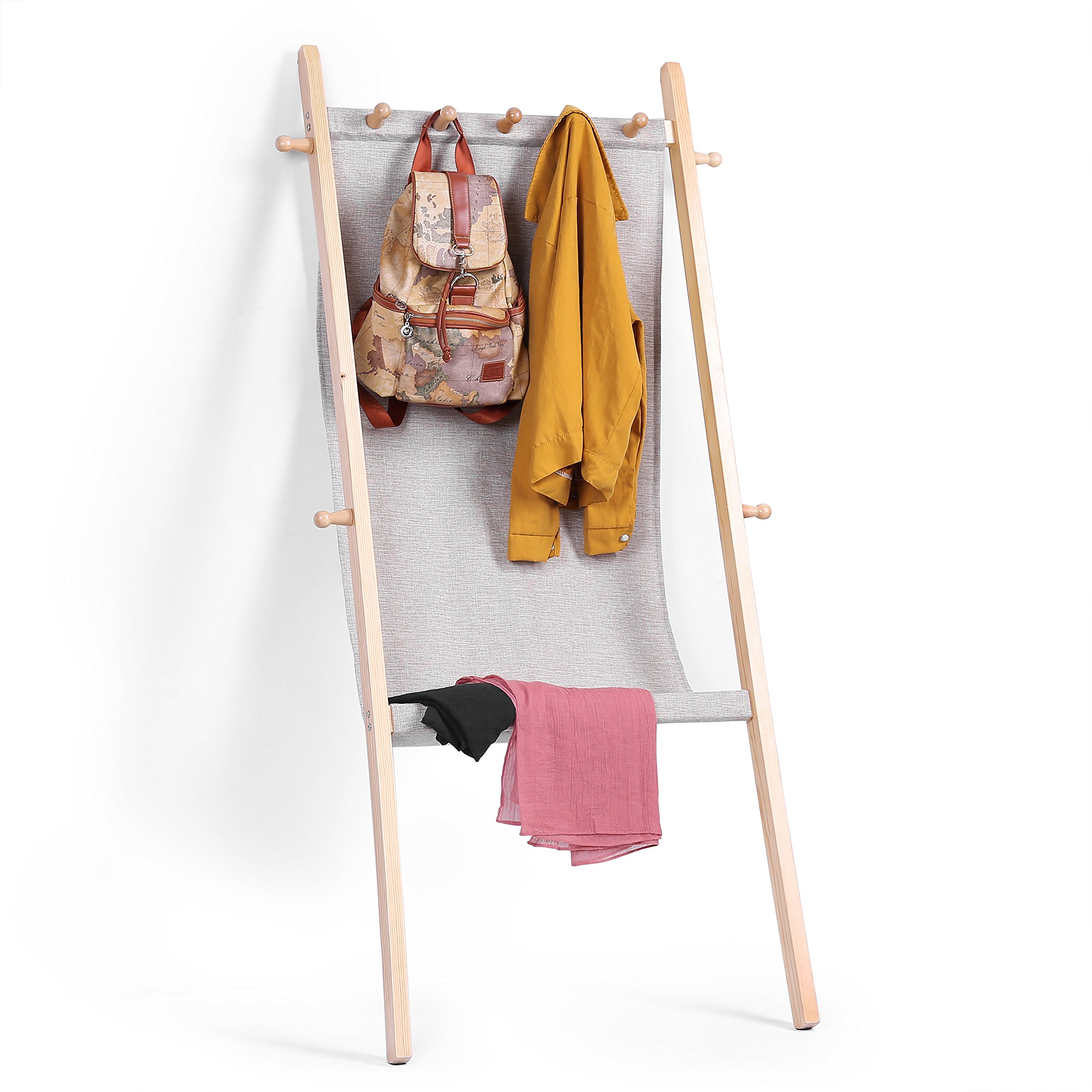 MyGift Wooden Leaning Garment Display Rack with Fabric Sling & 9 Peg Hooks