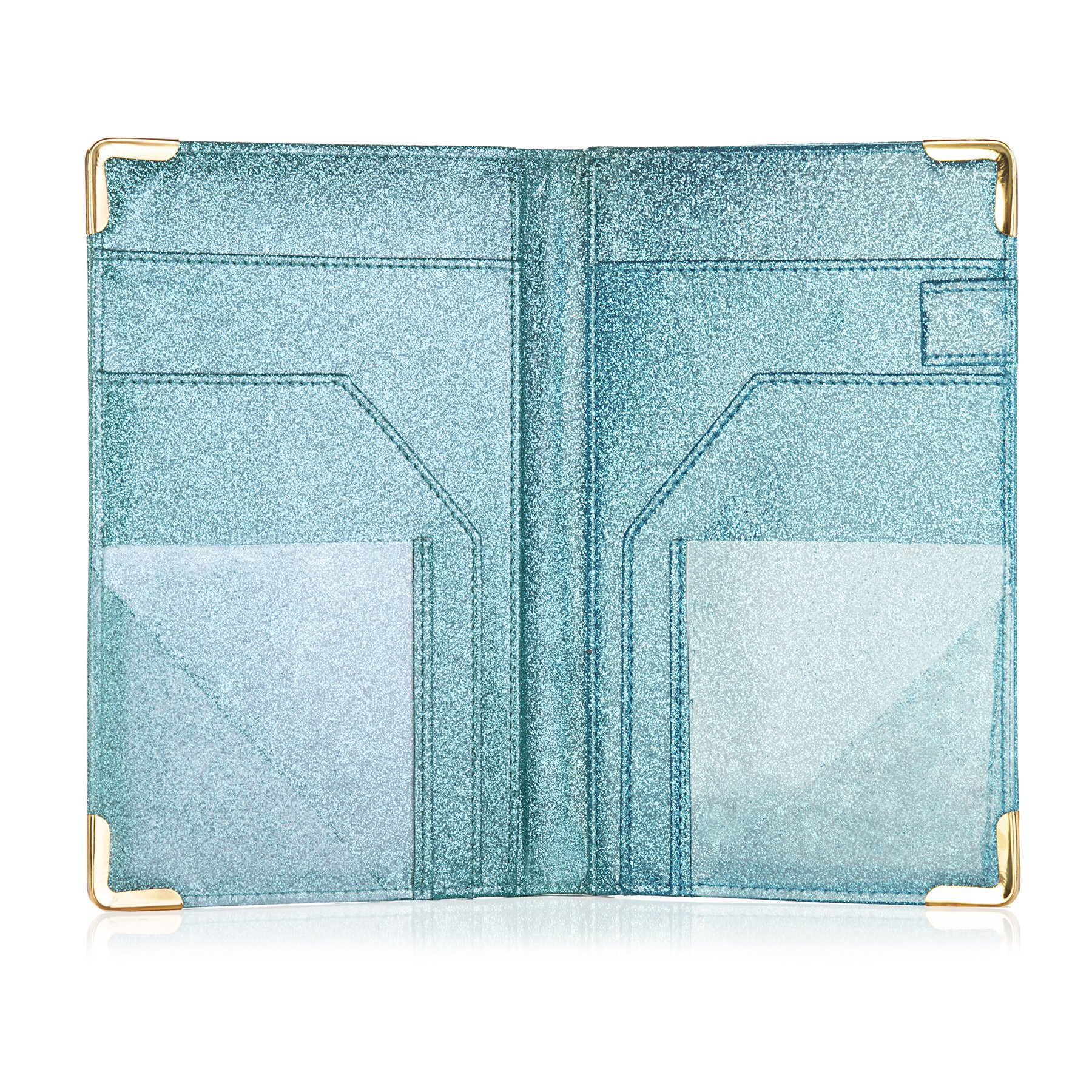 Sonic Server Dazzling Glitter Server Book and Waiter Waitress Organizer for Waitstaff | Aqua Turquoise Bling | 10 Pockets Holds Guest Checks, Money, Receipts, Order Pad with Pen Holder Loop by Sonic Server (Image #3)