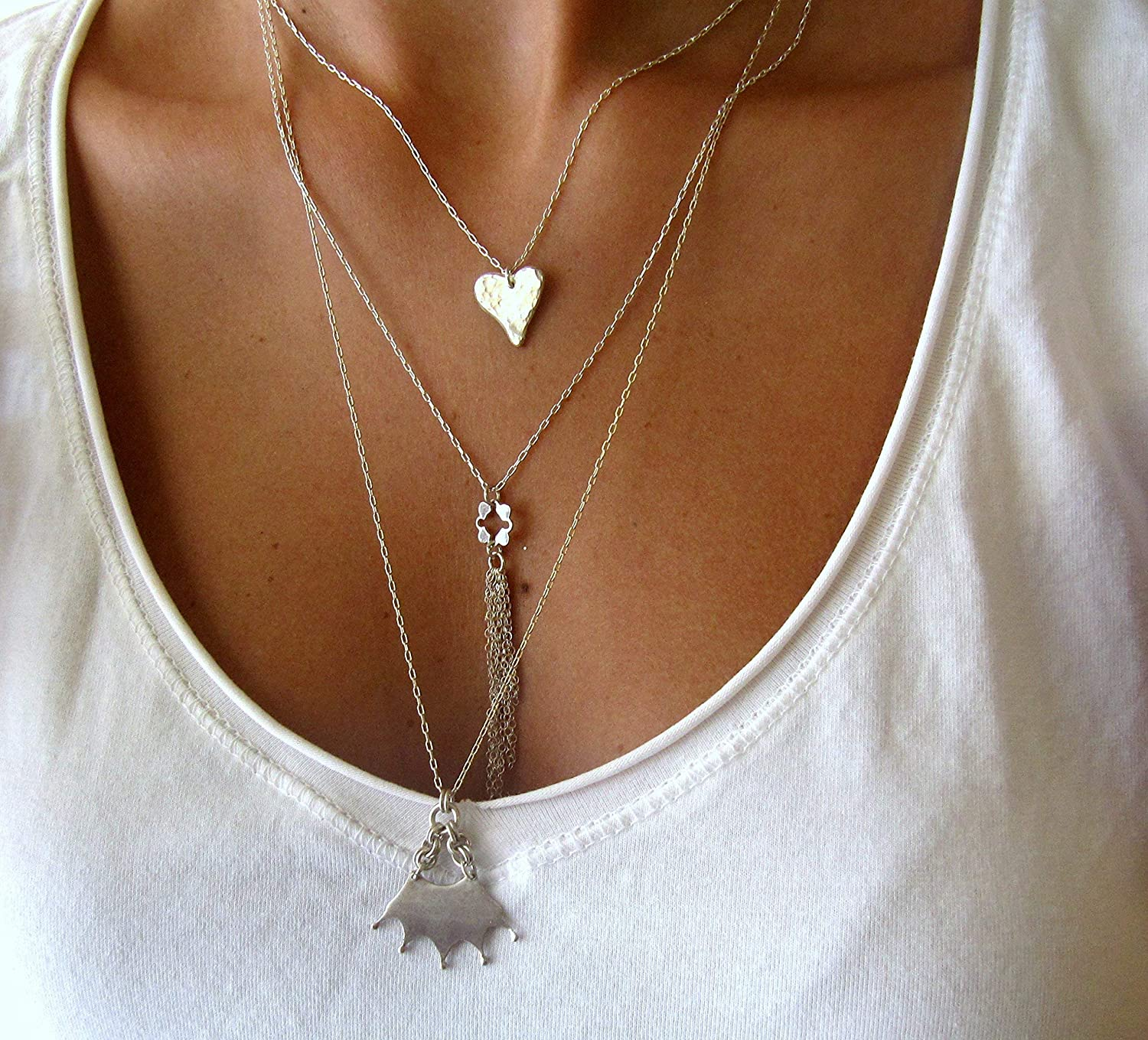 Triple layer Sterling Silver Necklace.