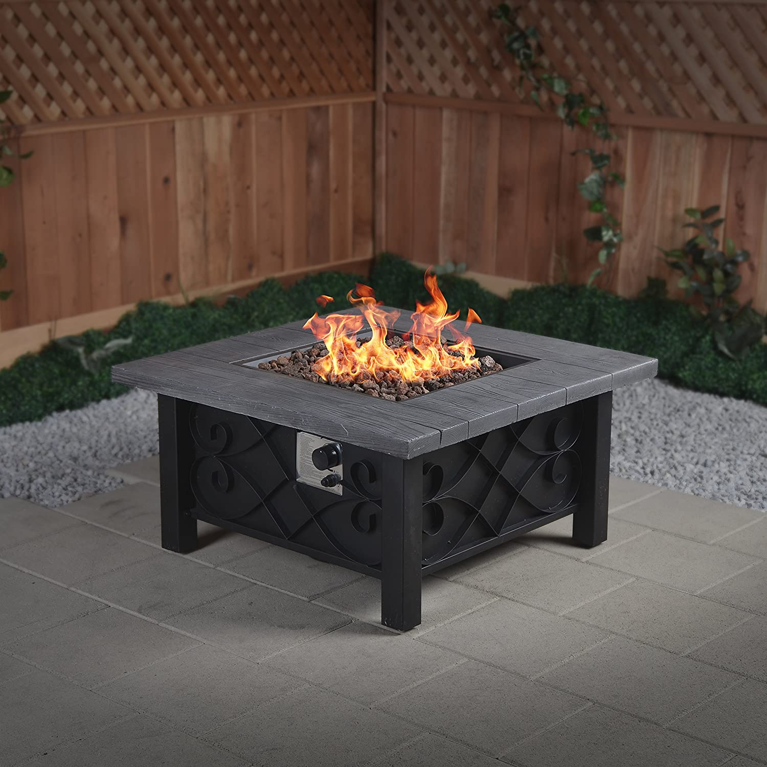 Amazon Marbella Steel Gas Fire Table 34 5 Inches by 34 5