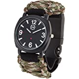 Survival Watch V3 | Ultimate Emergency Survival Gear | Features Military Grade Paracord, Compass, Whistle, & Fire Starter | Water Resistant | Adjustable Paracord Band | 4 Colors