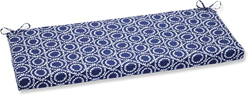 Pillow Perfect 568409 Outdoor Indoor Ring a Bell Navy Bench Swing Cushion, 45 x 18 , Blue
