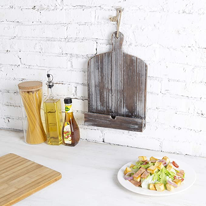 Amazon.com: MyGift Rustic Farmhouse Torched Wood Cookbook iPad Holder with Kickstand: Kitchen & Dining