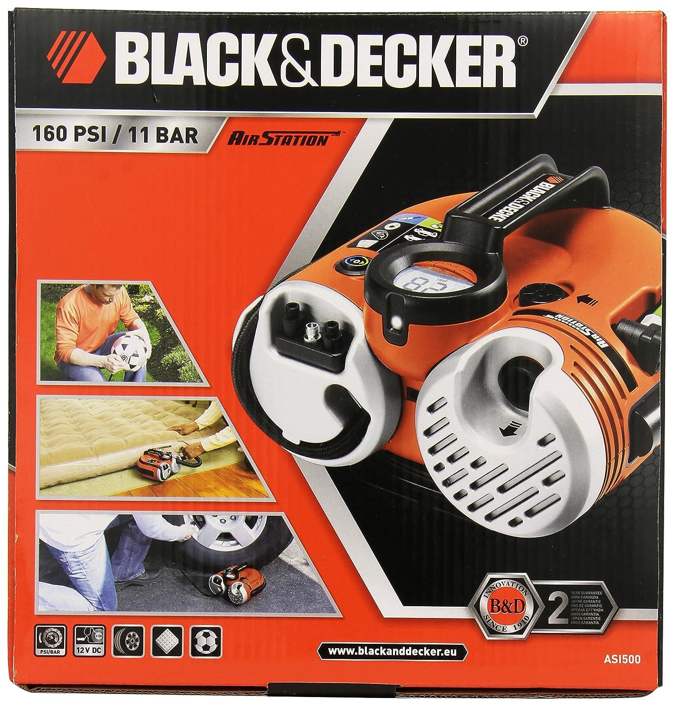 Black and Decker ASI500-QW - Bomba de aire con batería (conectores de 12 V y 230 V, 11 bar): Amazon.es: Coche y moto