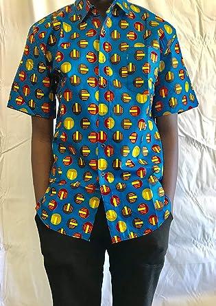 KNXGHT HXLL Mens Casual African Print Button Down-Shirt
