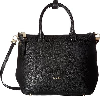 Calvin Klein Women's Nyla Pebble Satchel Black/Gold Handbag ...