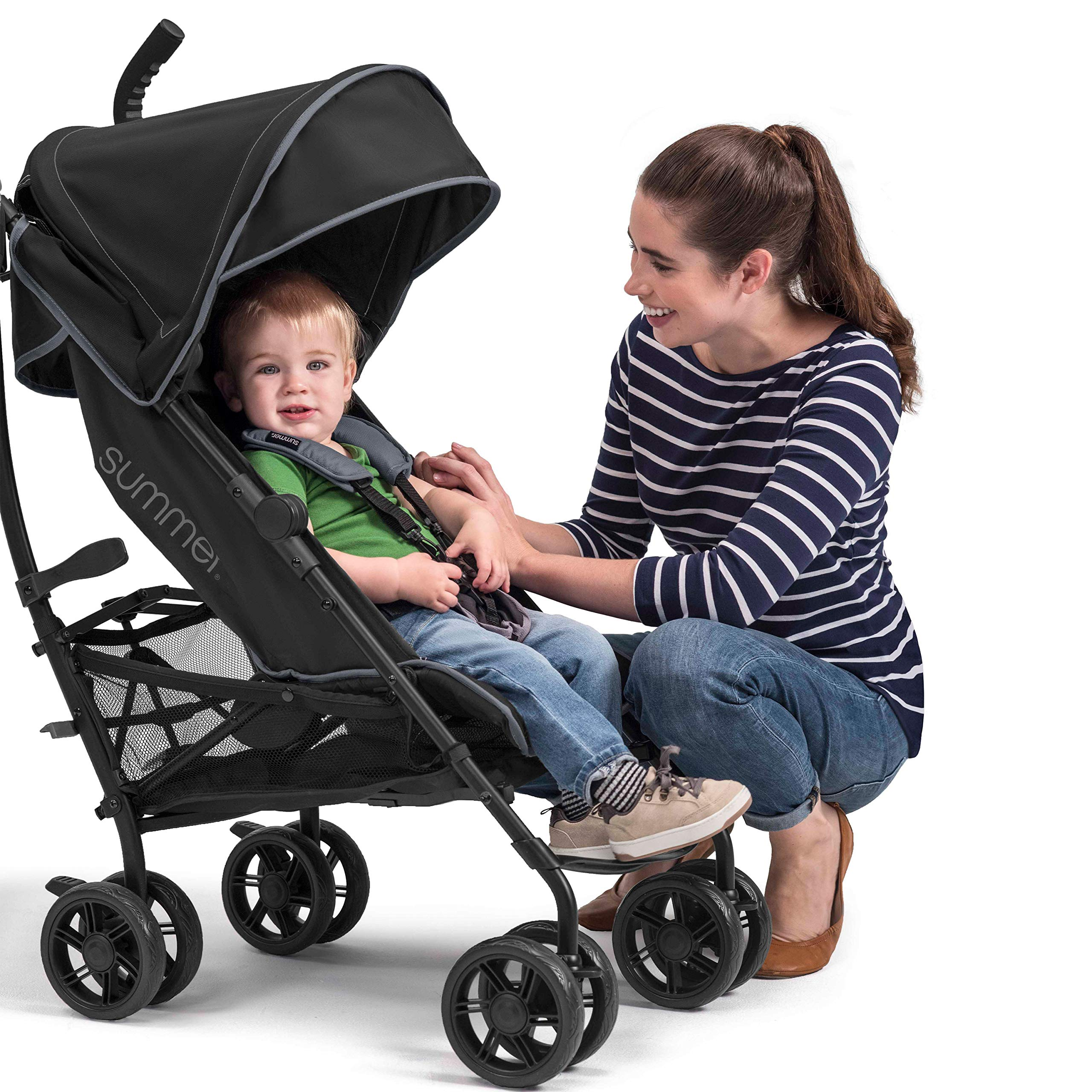 Summer 3Dlite+ Convenience Stroller, Matte Black - Lightweight Umbrella Stroller with Oversized Canopy, Extra-Large Storage and Compact Fold by Summer Infant (Image #9)