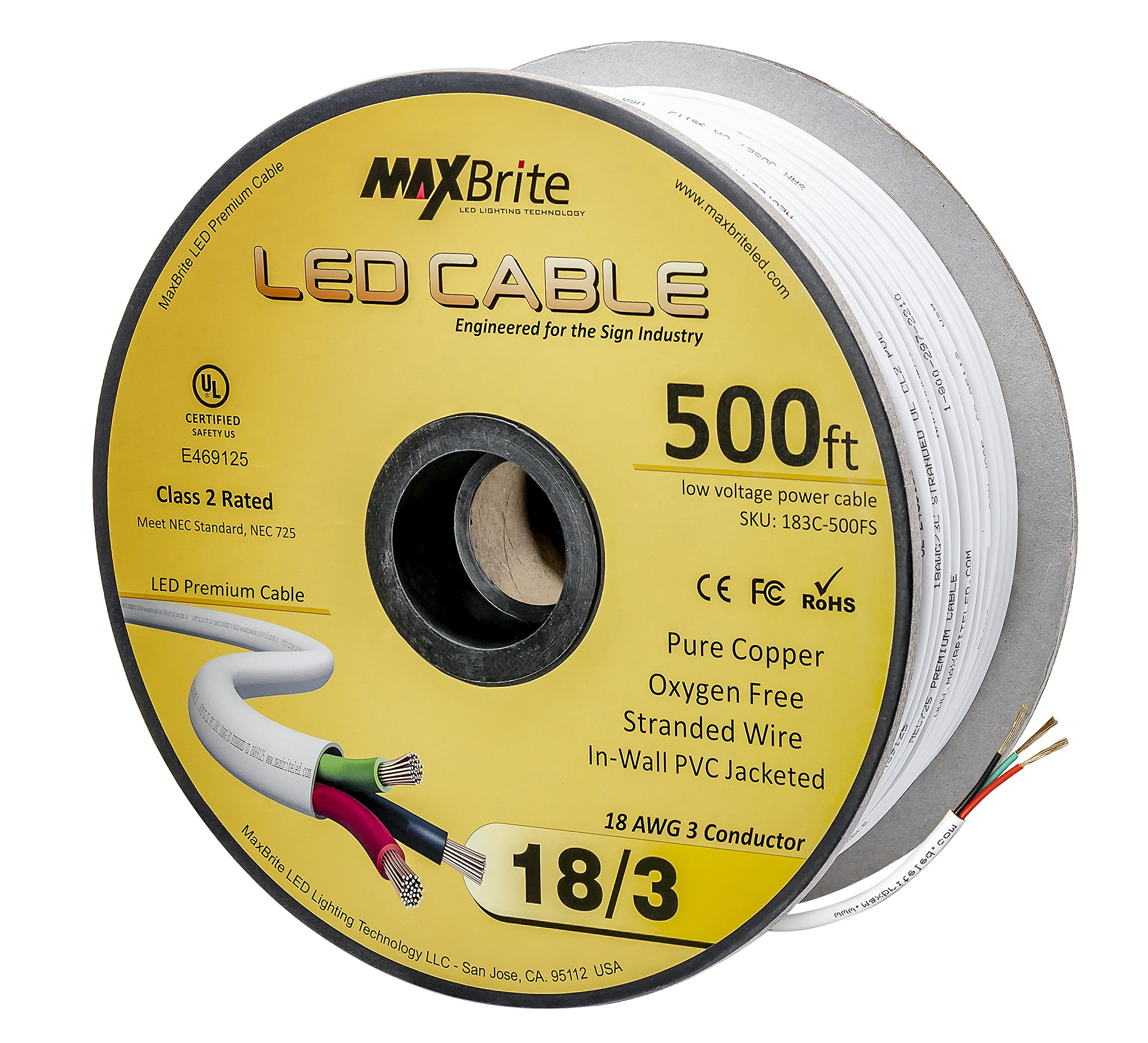 18AWG Low Voltage LED Cable 3 Conductor Jacketed In-Wall Speaker Wire UL/cUL Class 2 (500 ft reel) by US LED Superstore