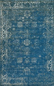 Unique Loom 3134044 Sofia Collection Traditional Vintage Beige Area Rug, 5' x 8' Rectangle, Blue
