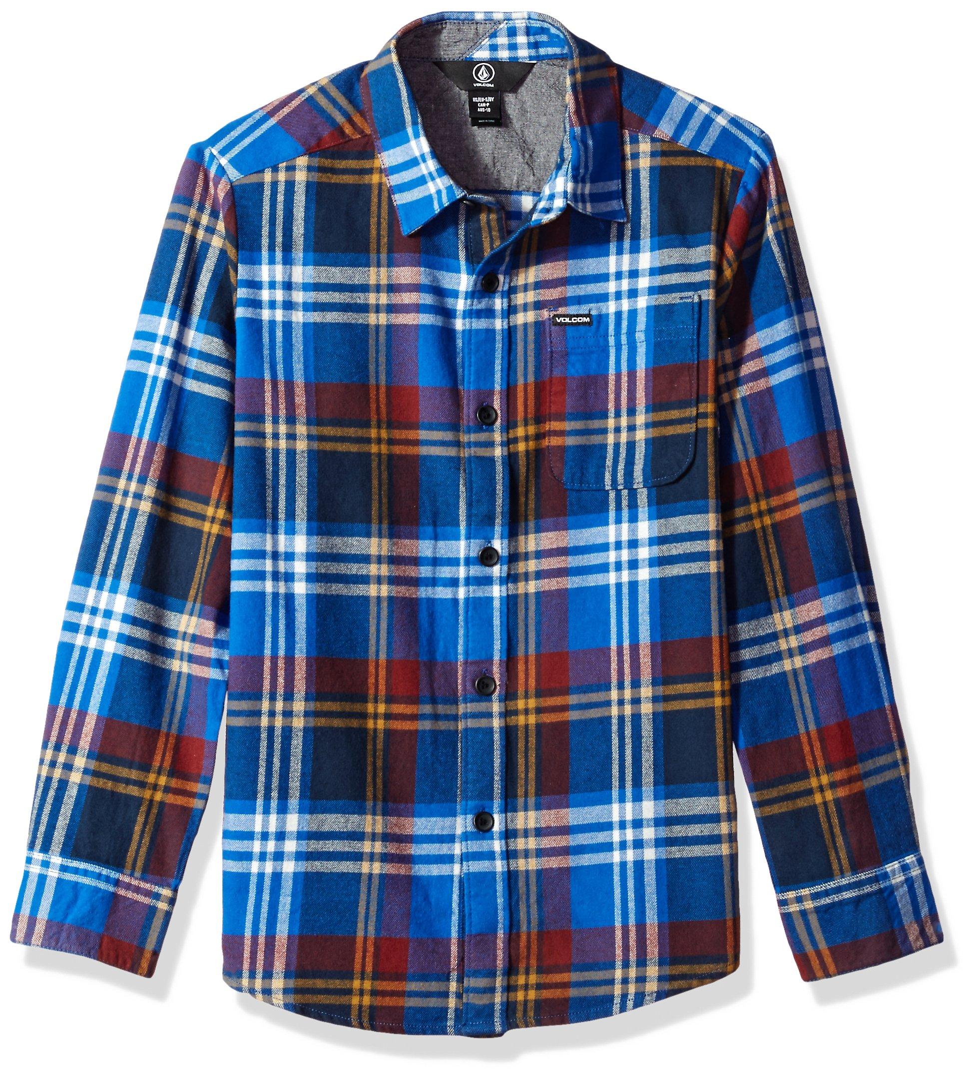 Volcom Big Boys Caden Long Sleeve Shirt, True Blue, M