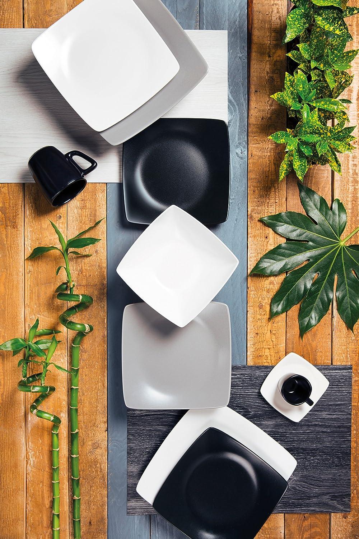 Excelsa Eclipse Servizio Piatti quadrati Bianco e Nero 18 Pezzi Ceramica
