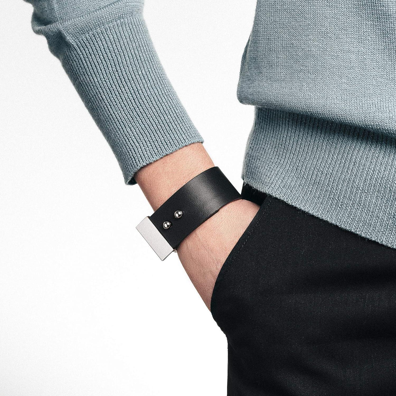 Pulsera de cuero negro para mujer, brazalete negro, brazalete ancho, brazalete negro, brazalete de cuero, cuero genuino