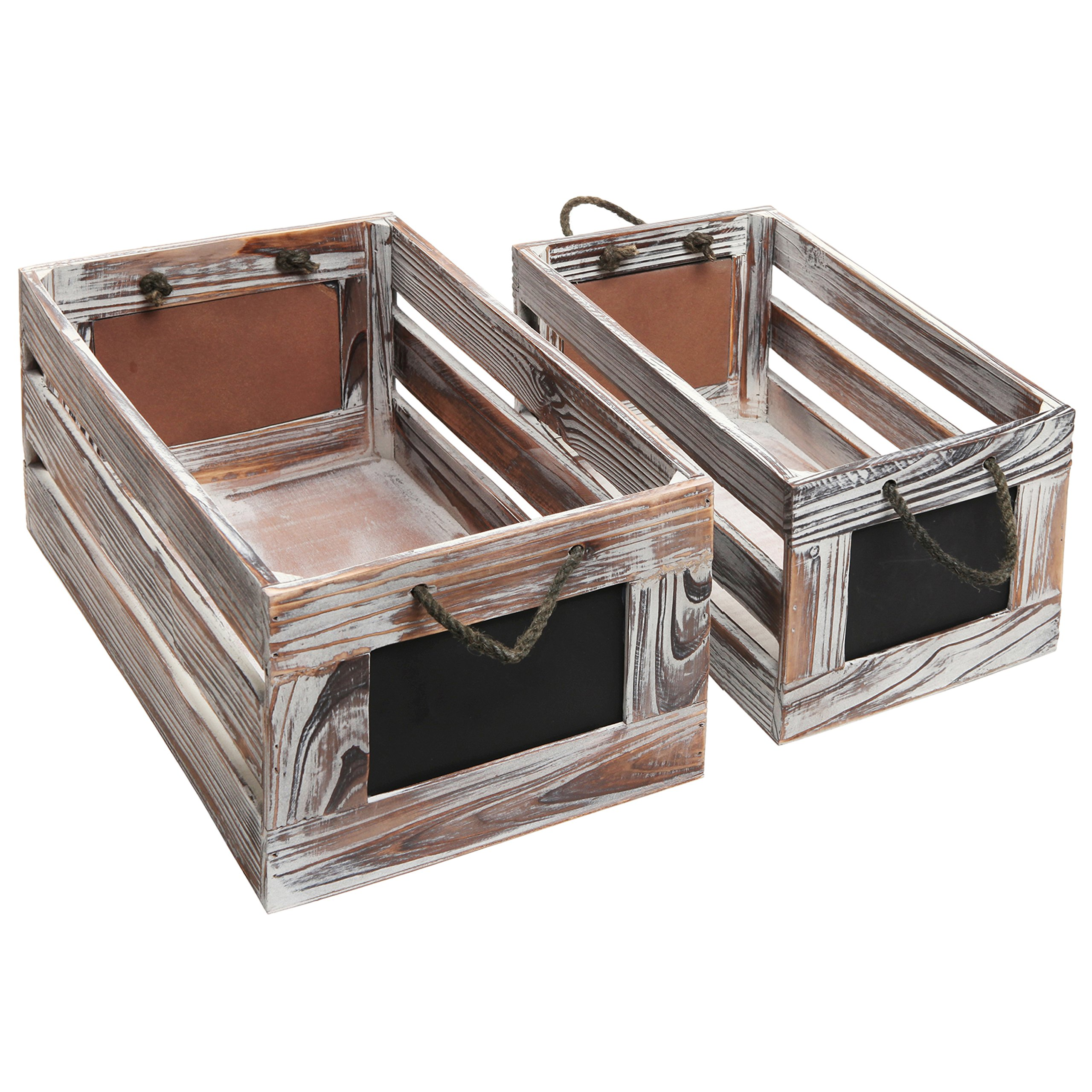 Distressed Torched Wood Finish Nesting Boxes / Rustic Storage Crates with Chalkboard Labels (Set of 2) by MyGift (Image #3)