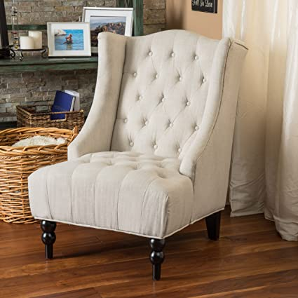 great deal furniture clarice wingback button tufted fabric accent chair in light - Tufted Wingback Chair