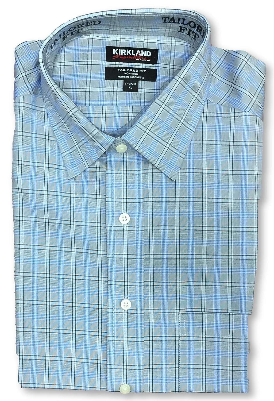 Kirkland Tailored Fit Non-Iron Dress Long Sleeve Shirt M 15x32//33 Grey Char