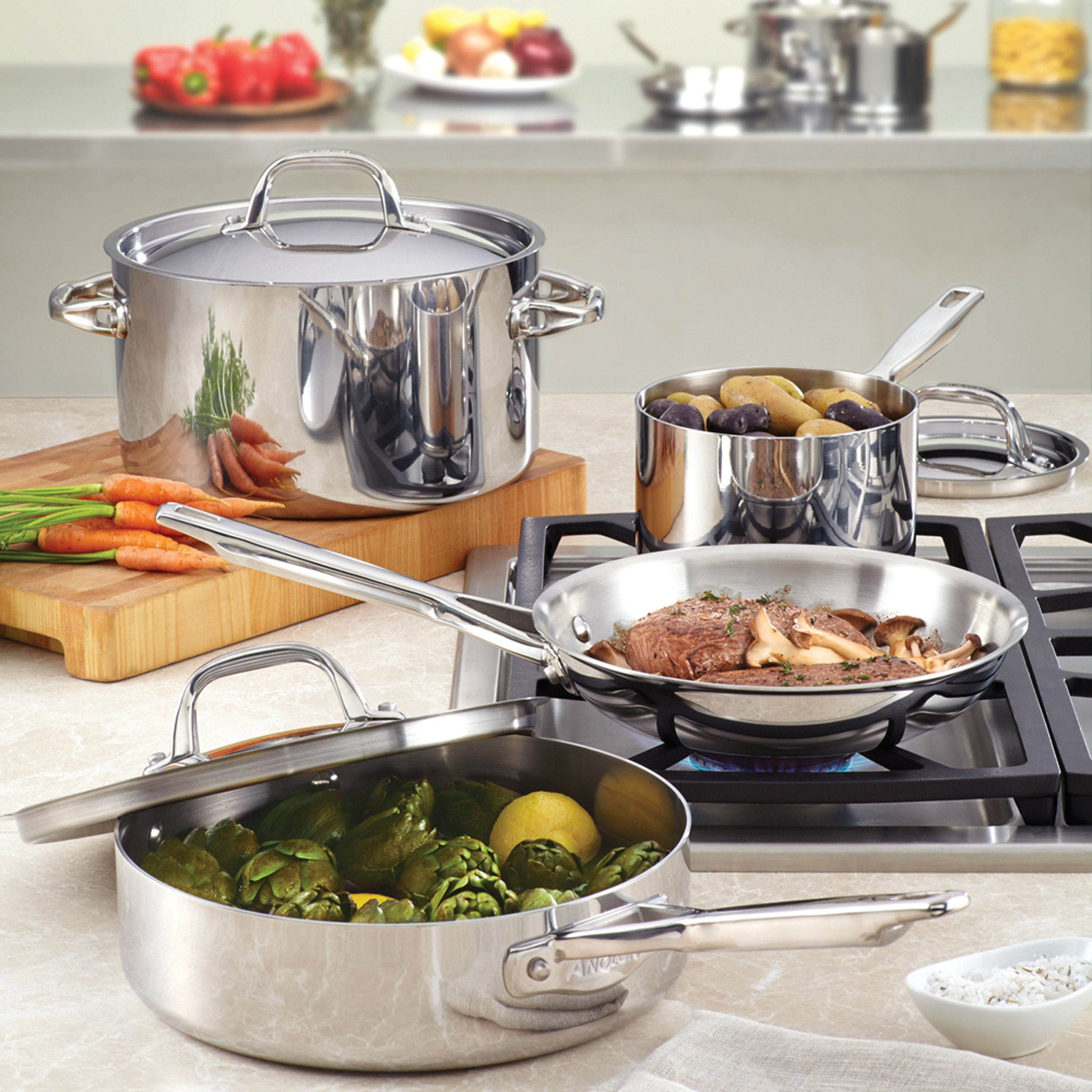 Anolon Tri-Ply Clad Stainless Steel 5-Quart Covered Saute with Helper Handle