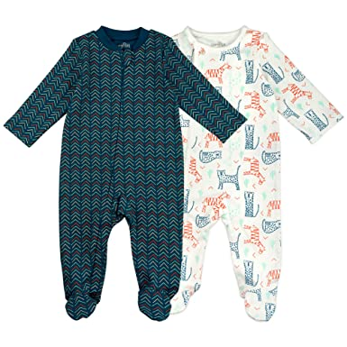 7c40e4bf0 Amazon.com: Baby Boy Sleeper Set, 2-Pack Bear Print Footed Sleep and ...