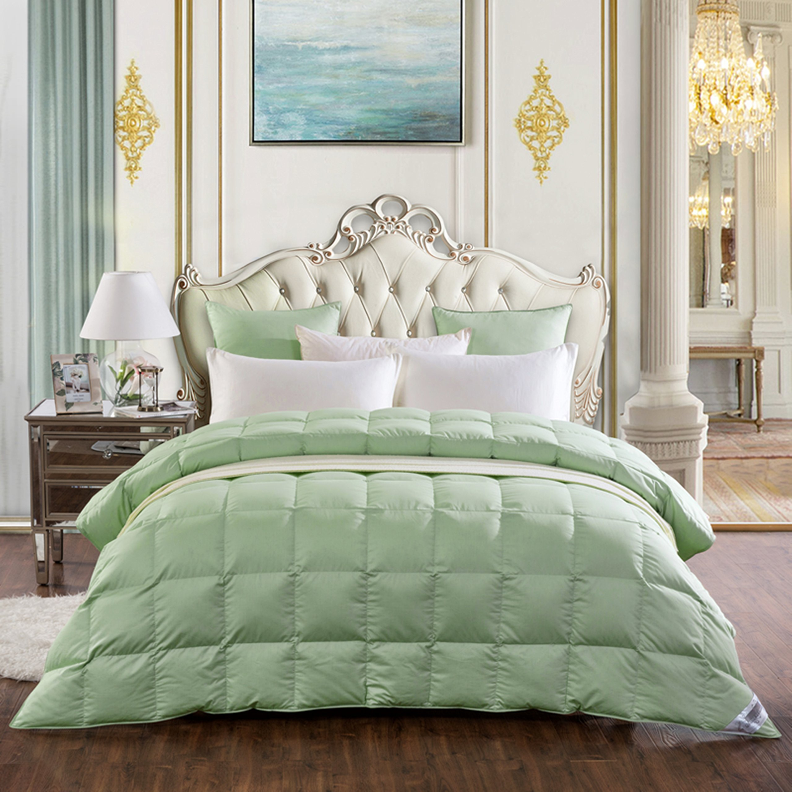 Lightweight White Goose Down and Feather Comforter Blanket for Summer Spring,Size CAL King,Green