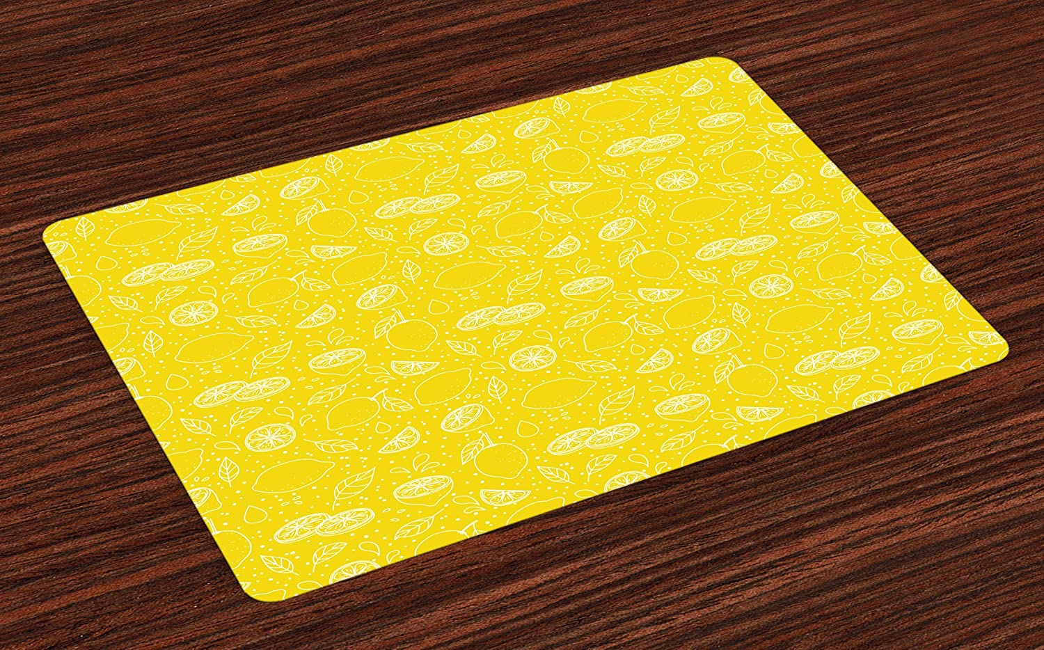 Ambesonne Yellow and White Place Mats Set of 4, Lemons Leaves and Water Droplets Design Monochrome Fruit Illustration, Washable Fabric Placemats for Dining Room Kitchen Table Decor, Yellow White