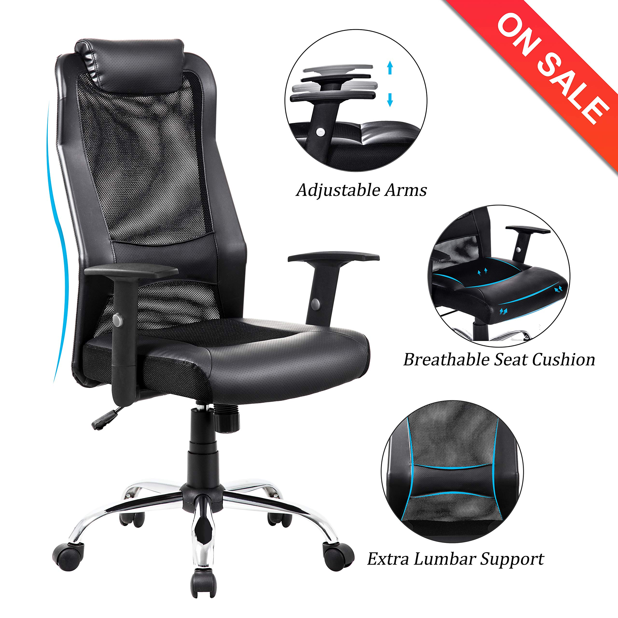 VANBOW Extra High Back Mesh Office Chair - Adjustable Arms Ergonomic Computer Desk Task Chair with Padded Leather Headrest and Lumbar Support, Black