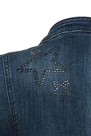 f59c6c0b67bd GINA LAURA Große Größen Damen Jacke Jeansjacke, Steinchen, Sterne, Schrift  GINA  LAURA  Amazon.de  Bekleidung