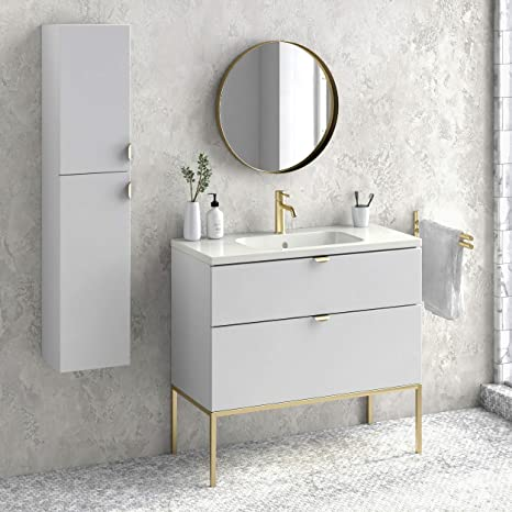 Amazon Com Aspen 40 Bathroom Vanity Cabinet And Sink 40 X35 X18 White Glossy Gold Kitchen Dining