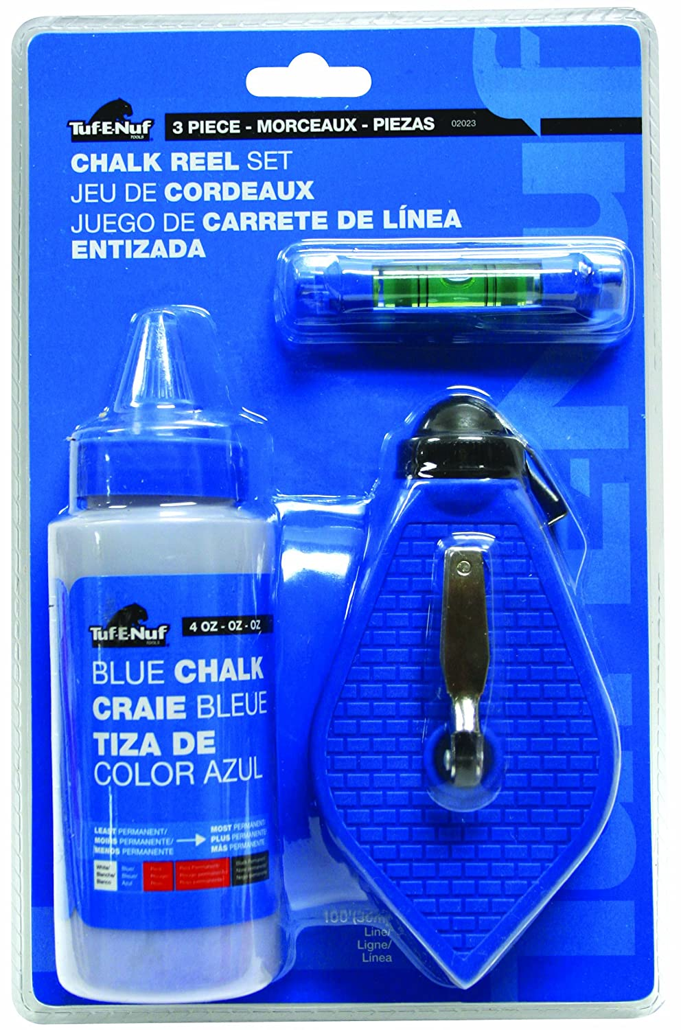 Task Tools 02023 Tuf-E-Nuf Reel Set with Chalk and Line Level LCM Team Task Tools