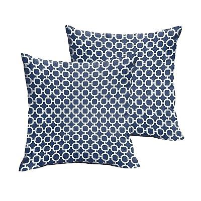 Mozaic Company Indoor/ Outdoor 20-inch Knife Edge Pillow, Dark Blue Chainlink, Set of 2 : Garden & Outdoor