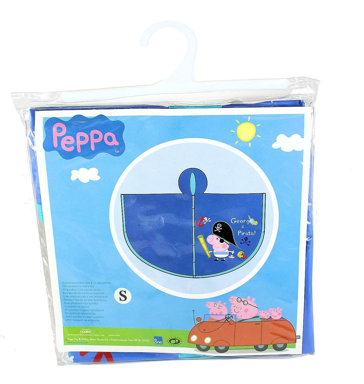 Peppa Pig - George The Pirate Children's Blue Waterproof Rain Poncho - SMALL Coriex