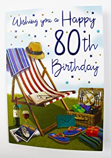 Happy 80th Birthday Greeting Card For Men Male Quality Verse Large Age Milestone