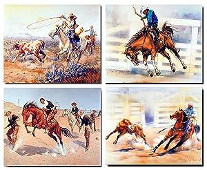 Western Wall Decor Rodeo Cowboy Horse Animal 16x20 Four Set Art Print Poster (16x20)
