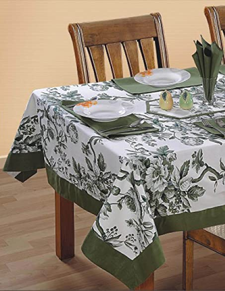 Shalinindia Colorful Multicolor Cotton Spring Floral Square Tablecloths 60  X 60 Inches With Light Moss Green