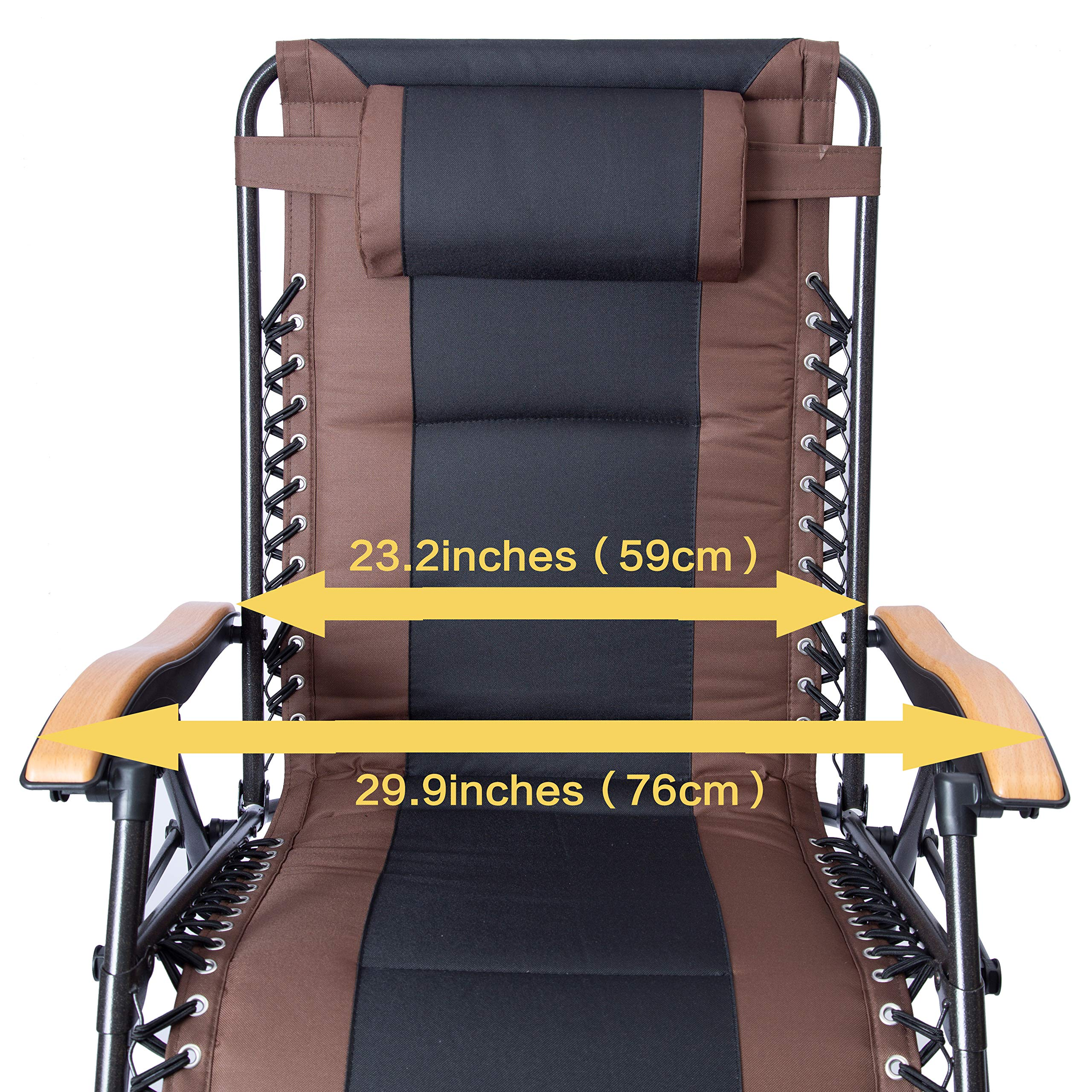 LUCKYBERRY Deluxe Oversized Padded Zero Gravity Chair XL Black Brown Cup Holder Lounge Patio Chairs Outdoor Yard Beach Support 350lbs by LUCKYBERRY (Image #3)