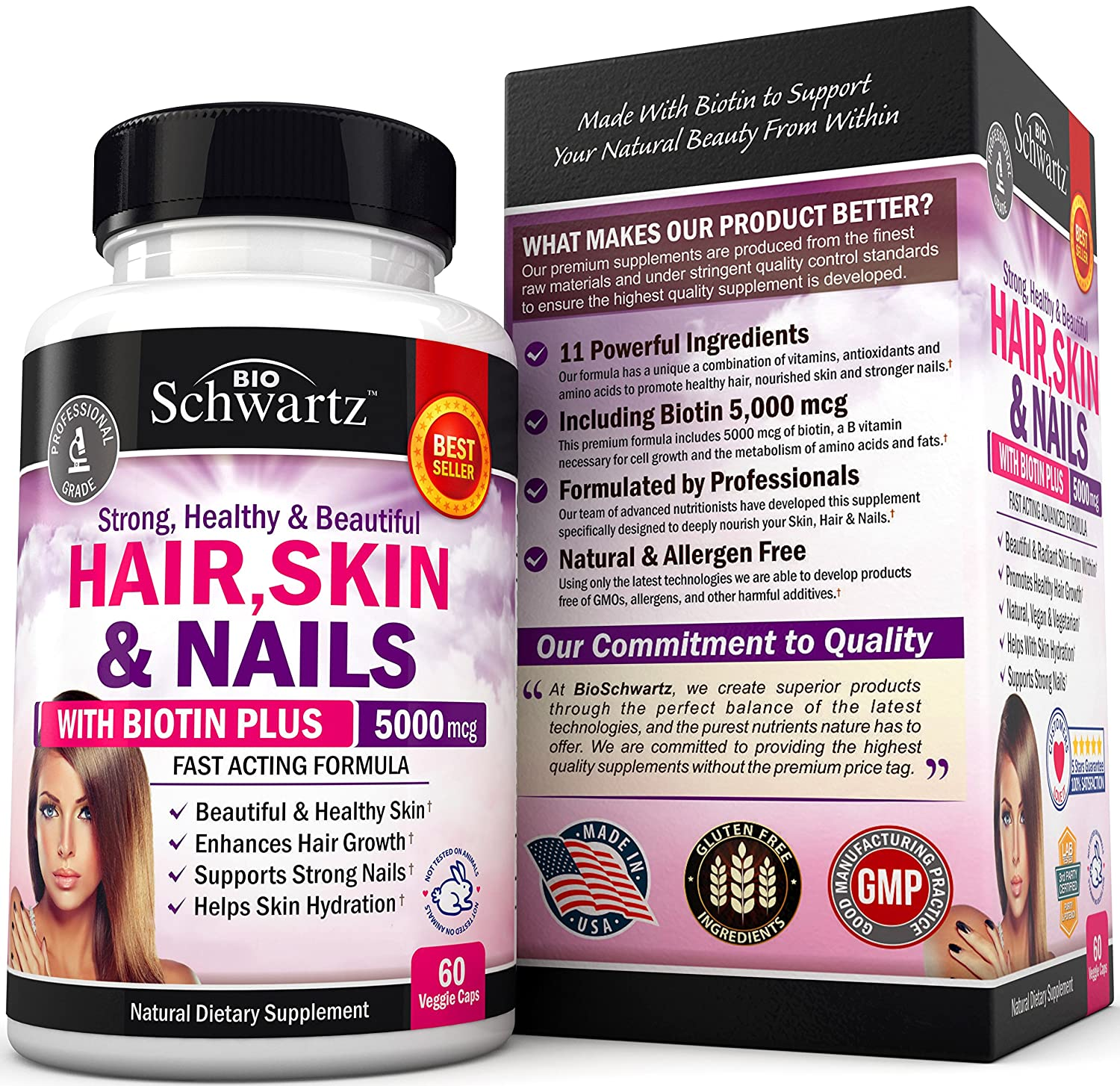 Amazon Com Hair Skin And Nails Vitamin With Biotin 5000 Promotes