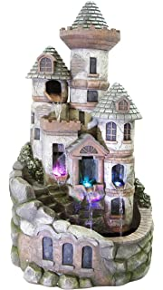 Alpine Corporation Tower Castle Fountain With LED Lights
