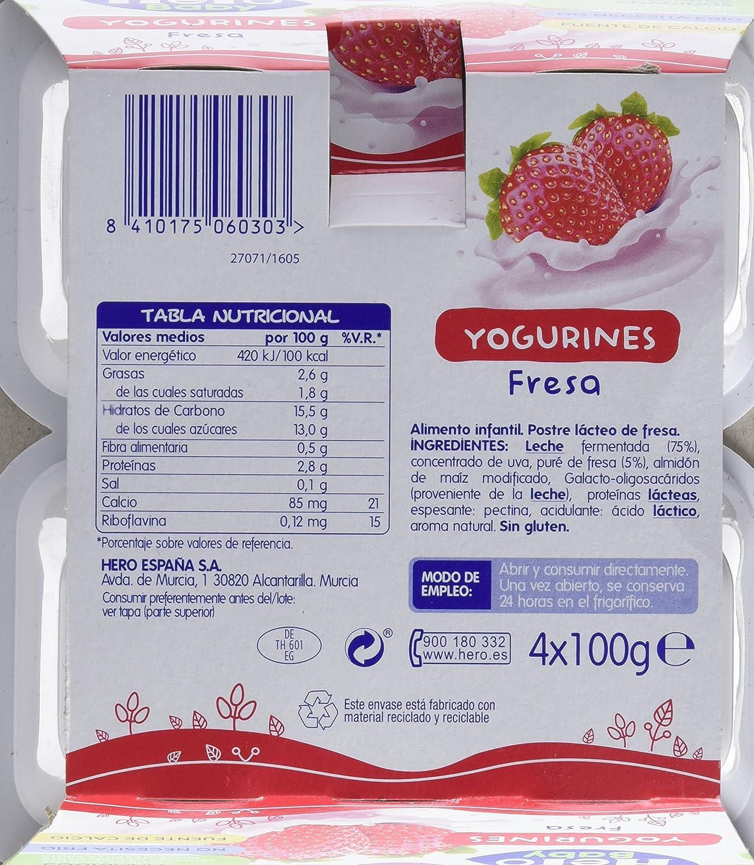 Hero Baby Yogurines Fresa - Paquete de 4 x 100 gr - Total: 400 gr - , Pack de 6: Amazon.es: Alimentación y bebidas