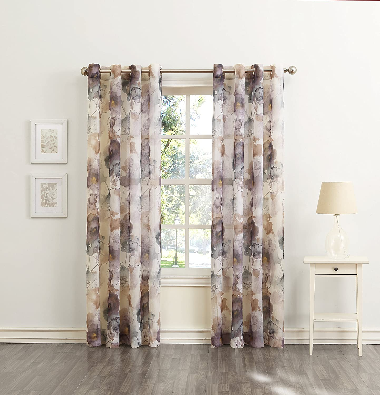 918 Andorra Watercolor Floral Crushed Texture Sheer Curtain Panel: Home U0026  Kitchen