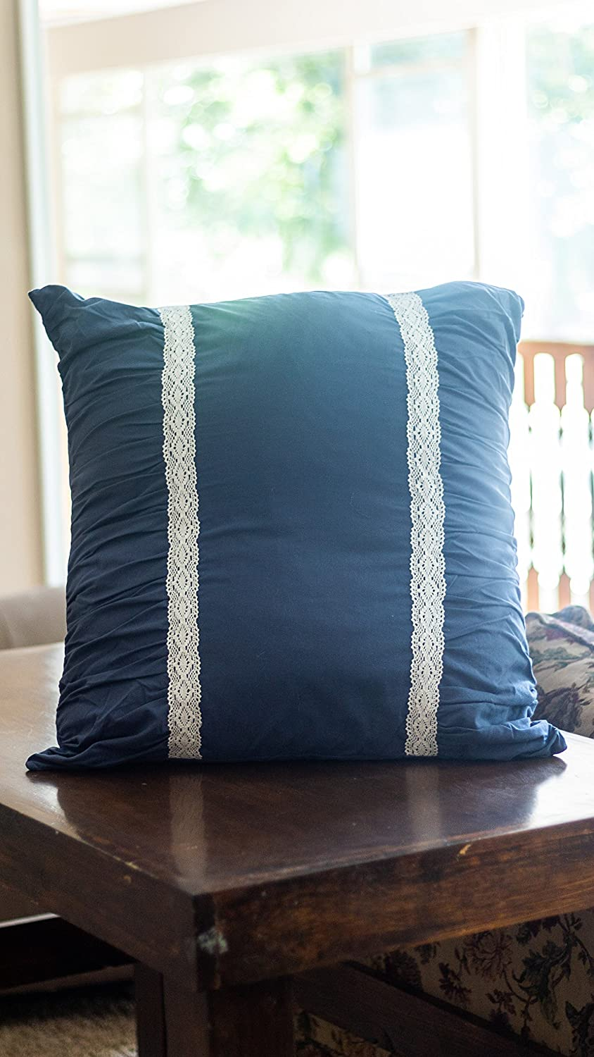 Soft Cotton Design 1 Sham Dark Blue Square Pillow Sham Fits 26 x 26 Euro Pillow