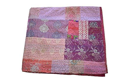 HandBlock Patchwork kantha stich Blanket,Baby Quilt,Hand embroidered kantha quilt,throw,Bed cover Bedspread Queen size quilt