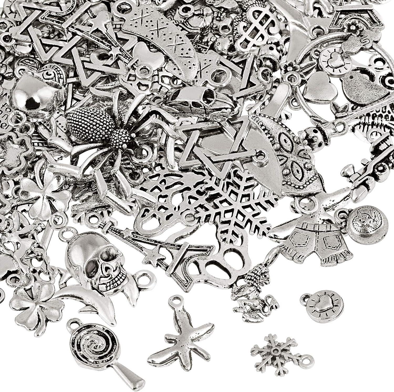Naler - Abalorios de plata de diferentes estilos retro, 120piezas, para crear joyas, llaveros, pulseras, collares, pendientes, Joyería con accesorios de decoración artesanal