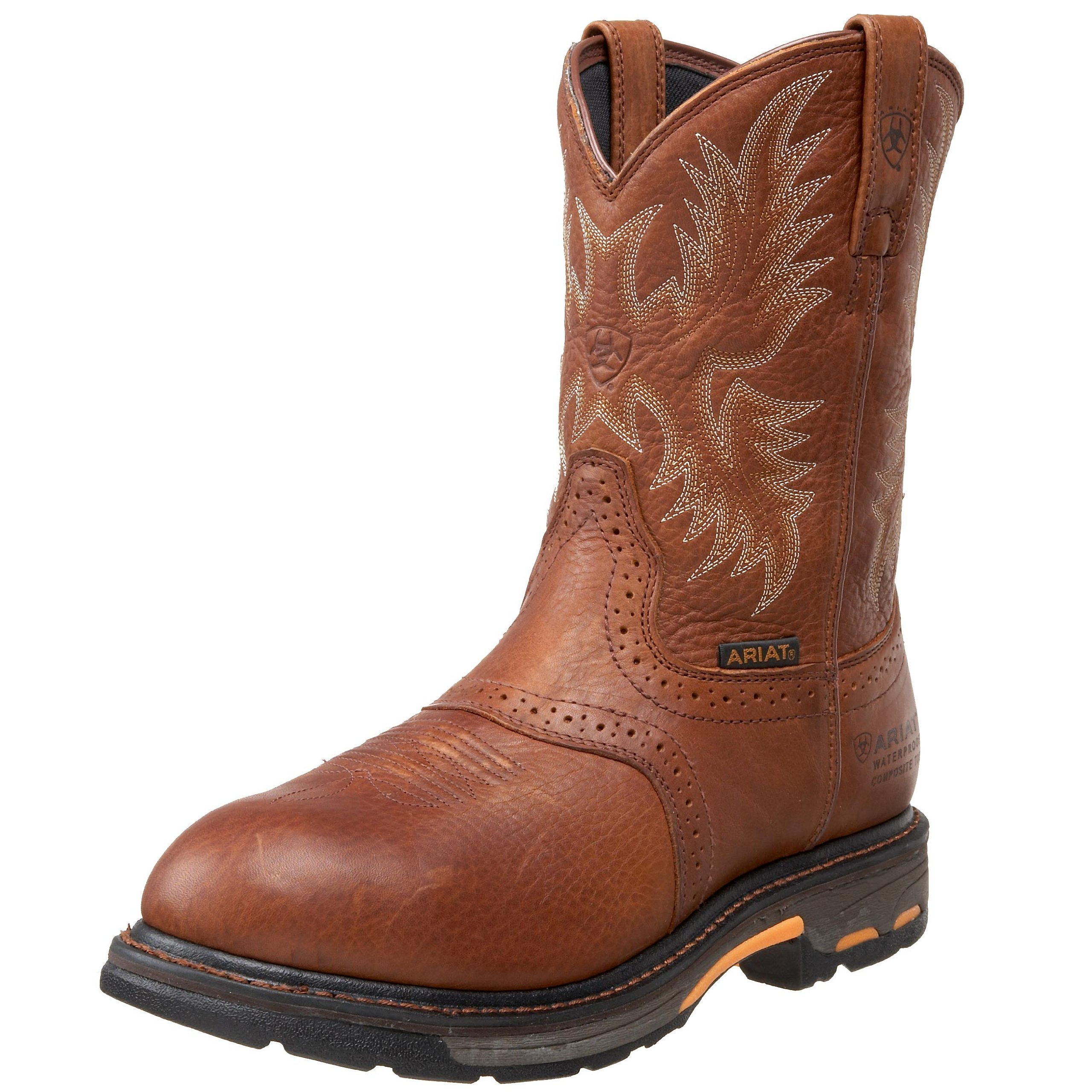 Ariat Men's Workhog Pull-on H2O Composite Toe Work Boot, Dark Copper, 8 2E US