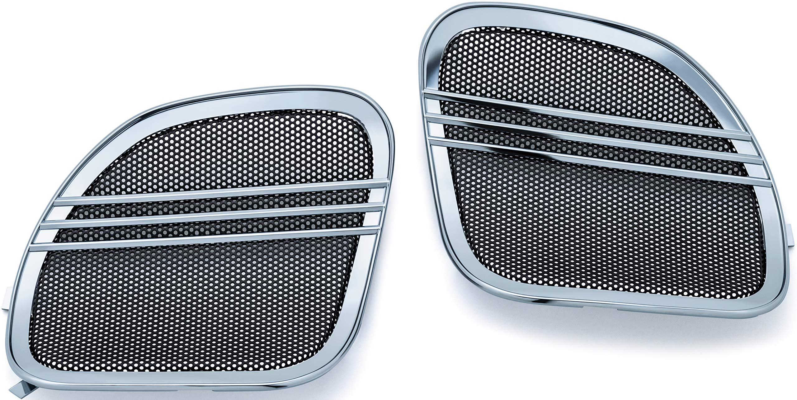 Kuryakyn 7378 Tri-Line Speaker Grills with Aluminum Mesh Screen for 2015-19 Harley-Davidson Motorcycles: Chrome, Pack of 2 by Kuryakyn